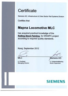 Siemens Rolling Stock Painting of ER24PC project