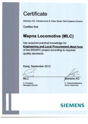 Siemens Engineering and Local Procurement (Metal Parts) of ER24PC locomotive